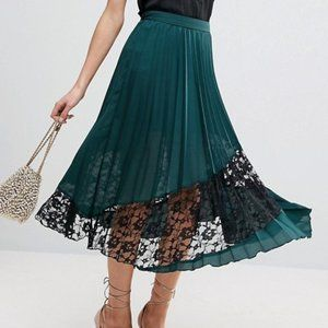 asos green midi skirt